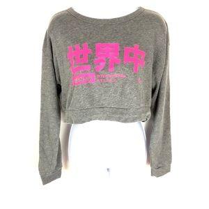 Stussy Long Sleeve Crop Top Tokyo Gray Hot Pink M